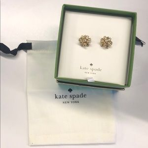Kate Spade Gold Pave Bourgeois Bow Earrings NWT